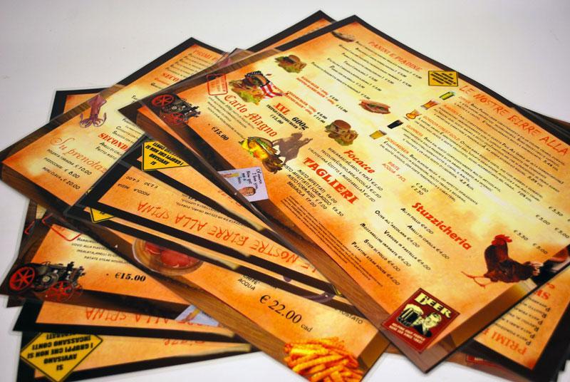 stampa menu plastificati